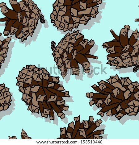 seamless pattern with pine cones, vector illustration - stock vector