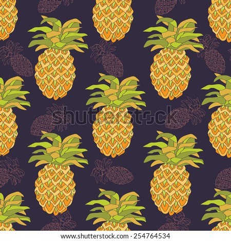 Seamless pattern with pineapples. - stock vector