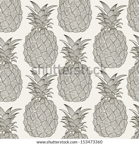 Seamless pattern with pineapples. Graphic stylized drawing. Vector illustration - stock vector