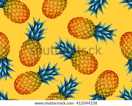 Seamless pattern with pineapples. Tropical abstract background in retro style. Easy to use for backdrop, textile, wrapping paper, wall posters. - stock vector