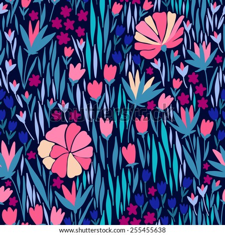 Seamless pattern with pink flower on dark background.Can be used for desktop wallpaper or frame for a wall hanging or poster,for pattern fills, surface textures, web page backgrounds, textile and more - stock vector