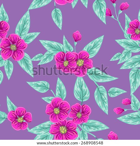 Seamless pattern with pink flowers and leaves over purple - stock vector