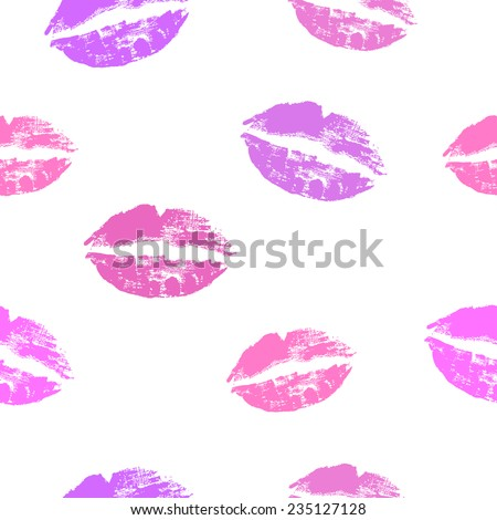 Seamless pattern with pink lips prints on white background. Grunge vector illustration. - stock vector