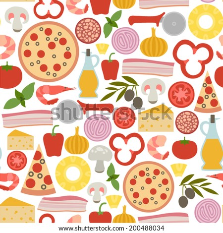 seamless pattern with pizza icons - stock vector