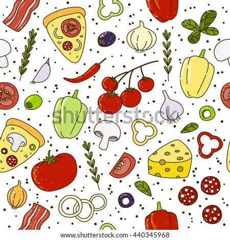 Seamless pattern with pizza ingredients