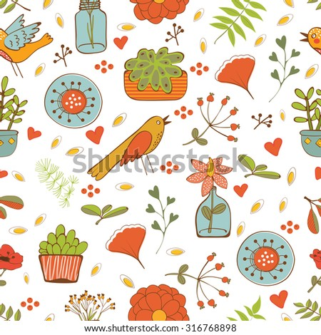 Seamless pattern with plants birds leaves and flowers. vector illustration - stock vector