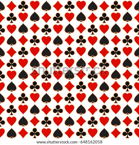 Seamless pattern with playing card suits.