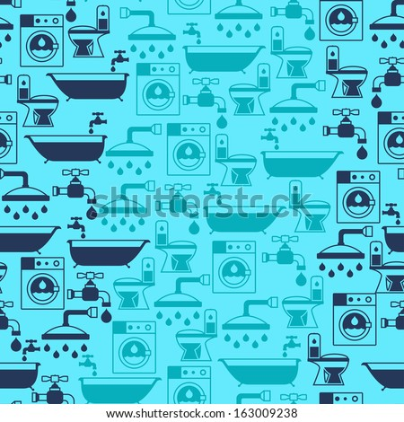 Seamless pattern with plumbing equipment. - stock vector