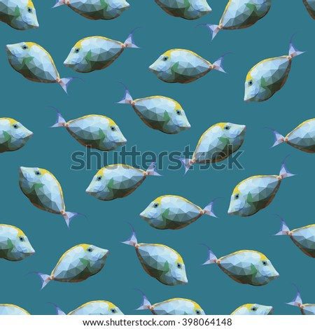 Seamless pattern with polygonal unicornfishes. Triangle low polygon style. Endless backdrop with colorful white and yellow orange spine unicorn fishes on deep blue sea background - stock vector