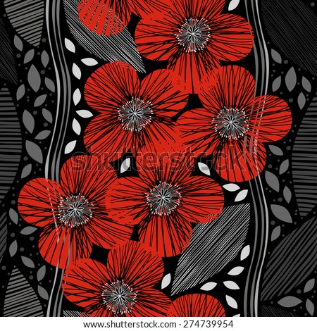 Seamless pattern with poppies. Hand-drawn floral background. - stock vector