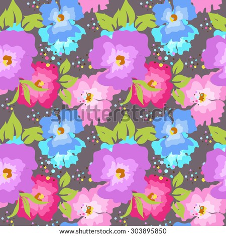 Seamless pattern with poppies on a gray background - stock vector