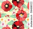 seamless pattern with poppy - stock vector