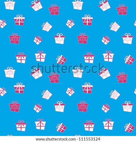 Seamless pattern with present box/Vector illustration