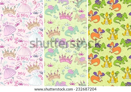 seamless pattern with  princess accessories and castle, dragons - stock vector