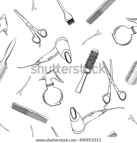 Seamless pattern with  Professional hairdresser tools isolated on white. Fashion and beauty background.  Vector.