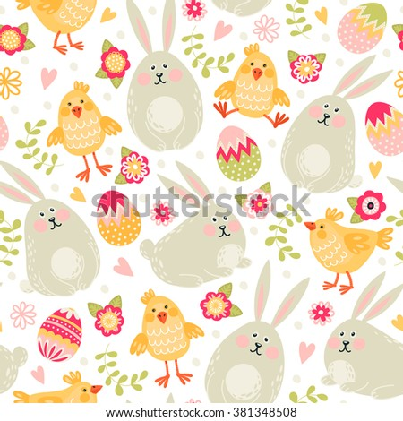 Seamless pattern with rabbits, chickens and eggs. Happy Easter! - stock vector