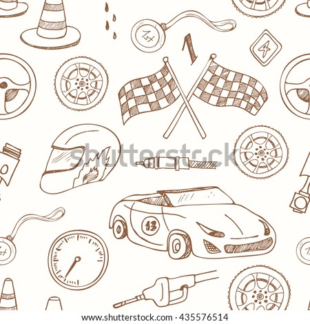 Seamless pattern with Racing auto items sketch icons hand drawn vector set with racing flags first place prize cup medal sport car  - stock vector