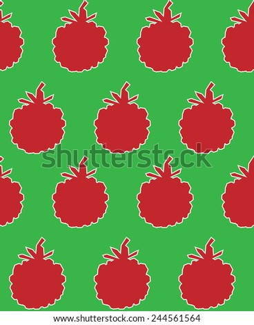 Seamless pattern with raspberries (motion illusion) - stock vector
