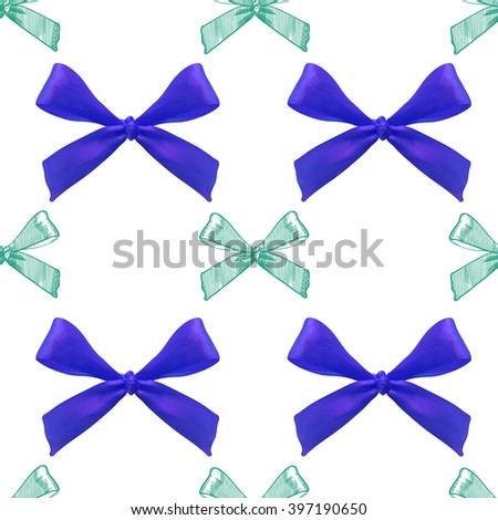 Seamless pattern with realistic and sketched bows on white background. VECTOR template. Blue and light blue bows.