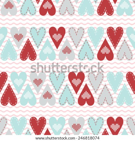 Seamless pattern with red and pastel hart - stock vector