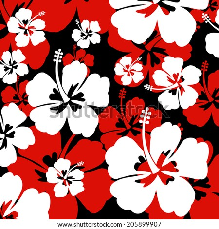 Seamless Pattern With Red And White Hibiscus Flowers On Black Background Vector Illustration