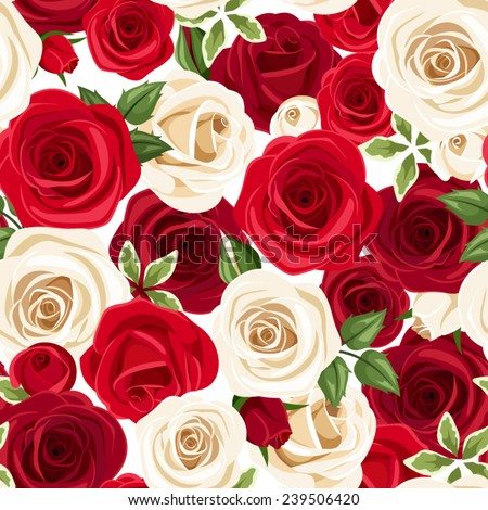 Seamless pattern with red and white roses. Vector illustration. - stock vector