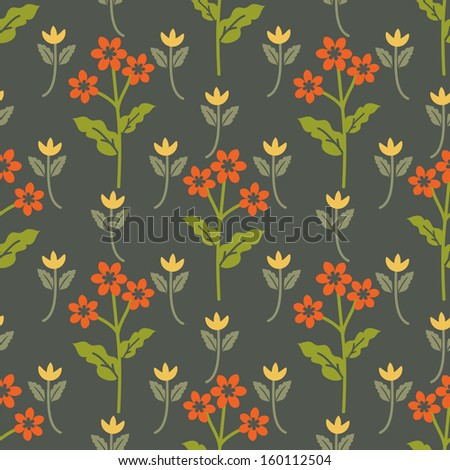 Seamless pattern with red and yellow flowers