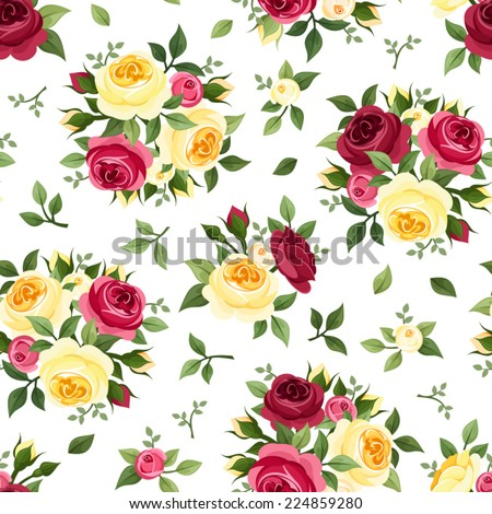 Seamless pattern with red and yellow roses on white. Vector illustration. - stock vector