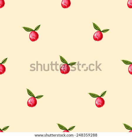 Seamless pattern with red berries. Ready to use - just drag and drop to your swatch panel. - stock vector