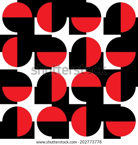 Seamless pattern with red, black, white