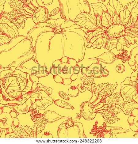 Seamless pattern with red outline of various vegetables on yellow background. - stock vector