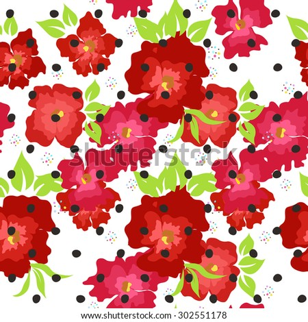 Seamless pattern with red poppies on a white background - stock vector