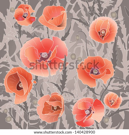 Seamless pattern with red poppy. Red flower and leaves. Vector illustration - stock vector