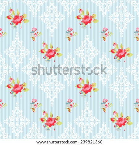 Seamless Pattern with red roses and damask elements  - stock vector
