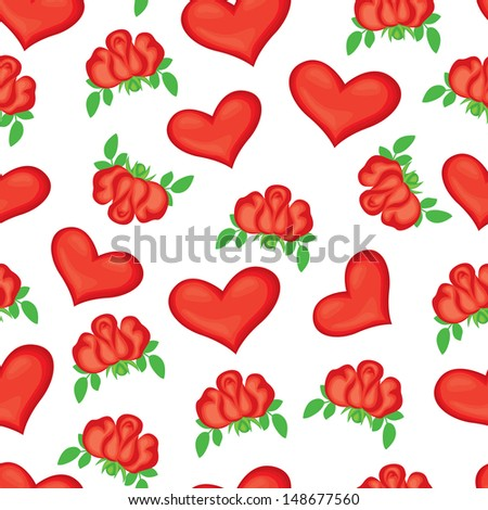 Seamless pattern with red roses and hearts - stock vector
