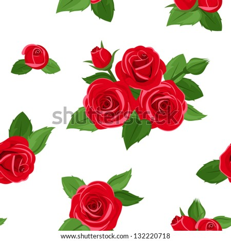 Seamless pattern with red roses. Vector illustration. - stock vector
