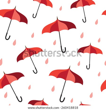 Seamless pattern with red umbrellas and rain  - stock vector