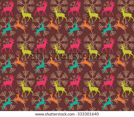 Seamless pattern with reindeers and christmas snowflakes, vector illustration - stock vector