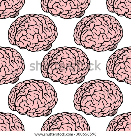 Seamless pattern with repeated pink human brain on white background for medicine design
