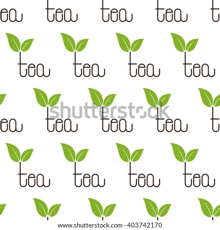 Seamless pattern with repeating brown colored tea lettering with two green leaves over letter t isolated on white background - stock vector