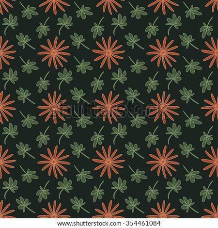 Seamless pattern with repeating flowers and leaves on the green background. Vector eps illustration