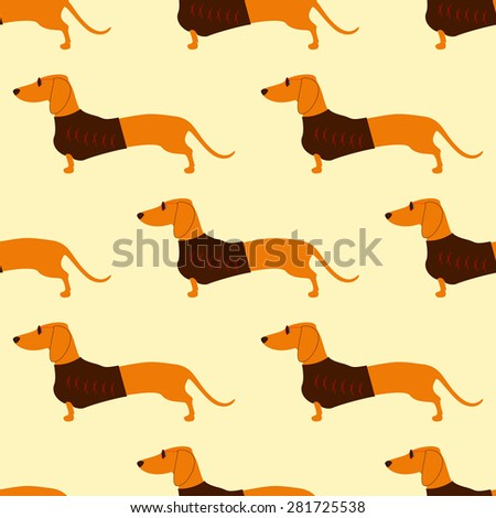 Seamless pattern with repeating foxy colored dachshund in glasses with dark lenses and red frame and brown waistcoat decorated with red pattern isolated on flaxen background - stock vector