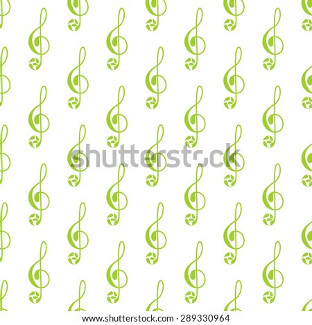 Seamless pattern with repeating green colored treble clef decorated with floral elements isolated on white background - stock vector