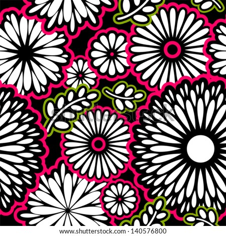 Seamless pattern with retro flowers in pink green and black - stock vector