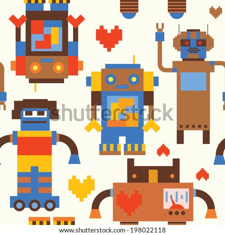 Seamless pattern with retro robots - stock vector
