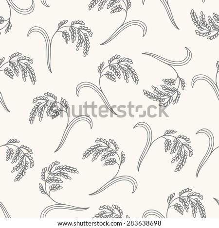 Seamless pattern with rice. Contour drawing vector illustration. Perfect for wallpapers, wrapping papers, bakery menu, web page background, textile  - stock vector
