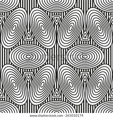 Seamless pattern with rings, vector repeating texture. Monochrome background.  - stock vector