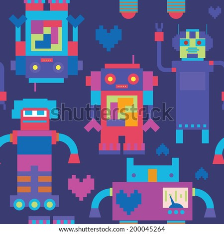 Seamless pattern with robots family - stock vector