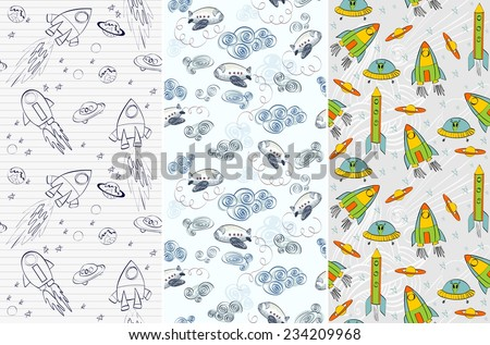 Seamless pattern with rockets, airplane, comet, planets and ufo. Childish background. - stock vector