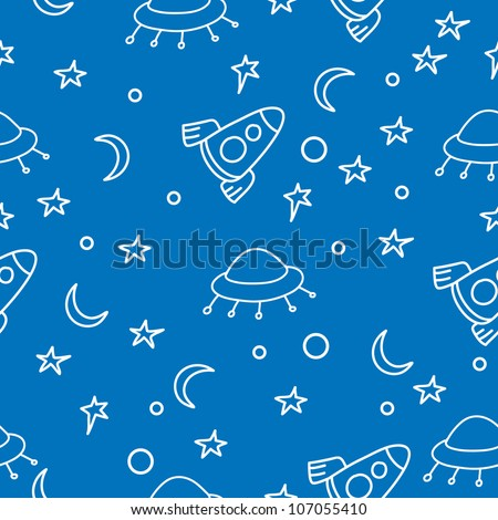 seamless pattern with rockets. Can be used for wallpaper, pattern fills, web page background, surface textures, textile. - stock vector